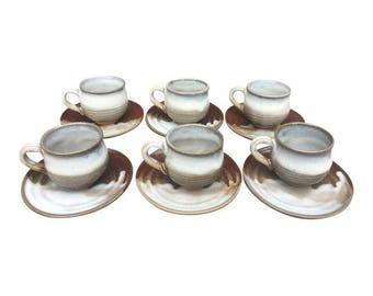 Japanese Drip Glaze Pottery Tea Cups & Saucers