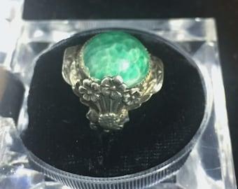 Green Glass & Sterling Silver Ring