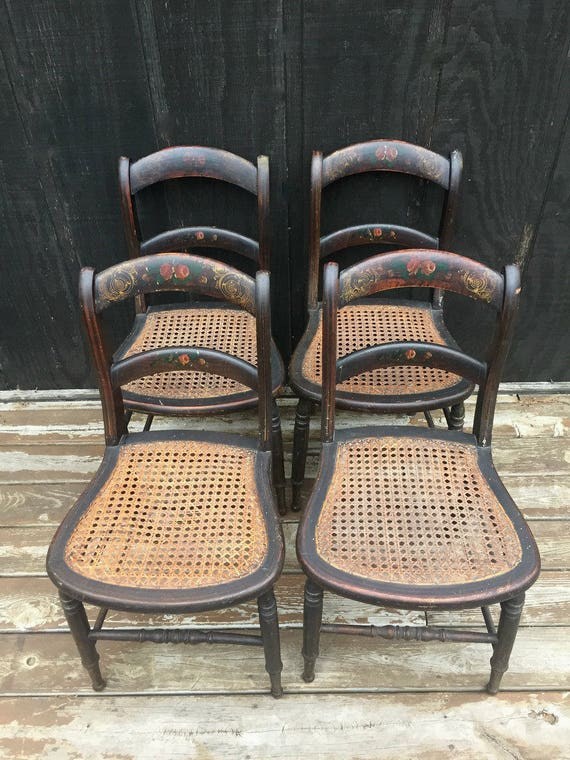 Victorian Stenciled Cane Bottom Chairs Set Of 4 Circa 1870 Etsy