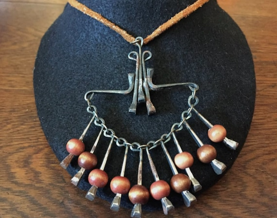 Brutalist Nail and Wood Necklace