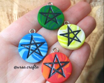 Polymer Clay Star Charm/ Clay Pentagram/ Clay Pentacle/ Elemental Charm, Jewelry, Necklace, Pendant/ 4 Elements/ Earth, Air, Fire, & Water