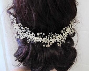 Bridal Back Headpiece ,Bridal Headpiece , Silver  Pearl Rhinestone  Bridal Hair Vine, Wedding Hair comb, Gold  Bridal Hair Comb,UK