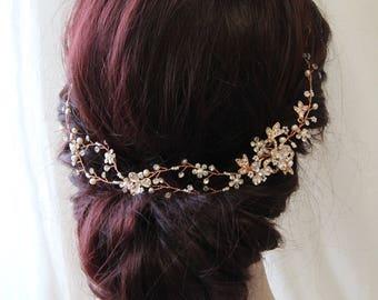 Rose Gold Hair Vine, Wedding Back Headpiece, Wedding Hair Vine,  Flower Hair Accessories, Bridal Hair Accessory, Bridal headpiece, UK