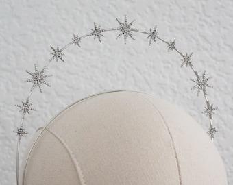 Silver Celestial star crown Wedding Headpiece Bridal crown Bridal Headpiece Star headband  Wedding Hair Accessories Star Hair piece