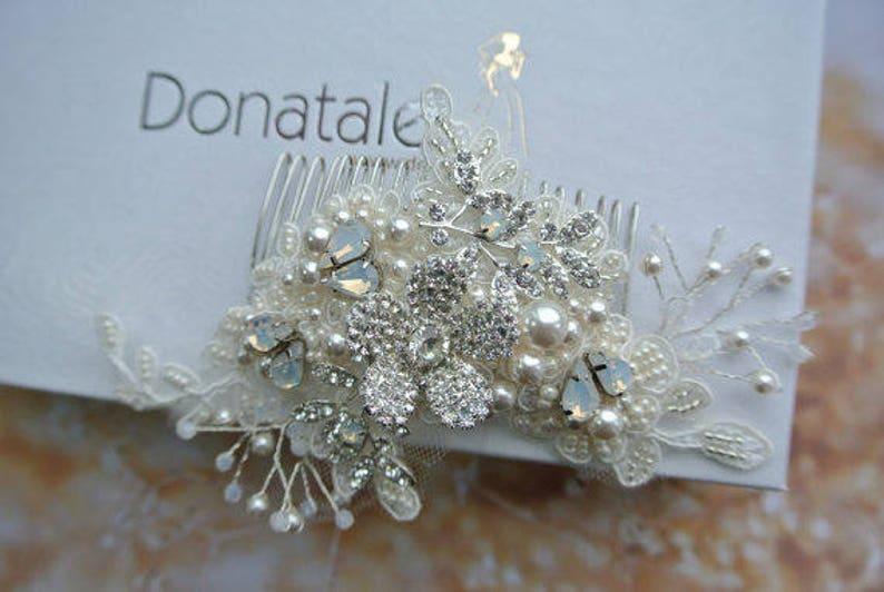 Opal Bridal Headpiece Wedding Hair piece Bridal hair Accessory ON SALE Silver Opal Bridal hair comb Lace Headpiece Lace hair comb