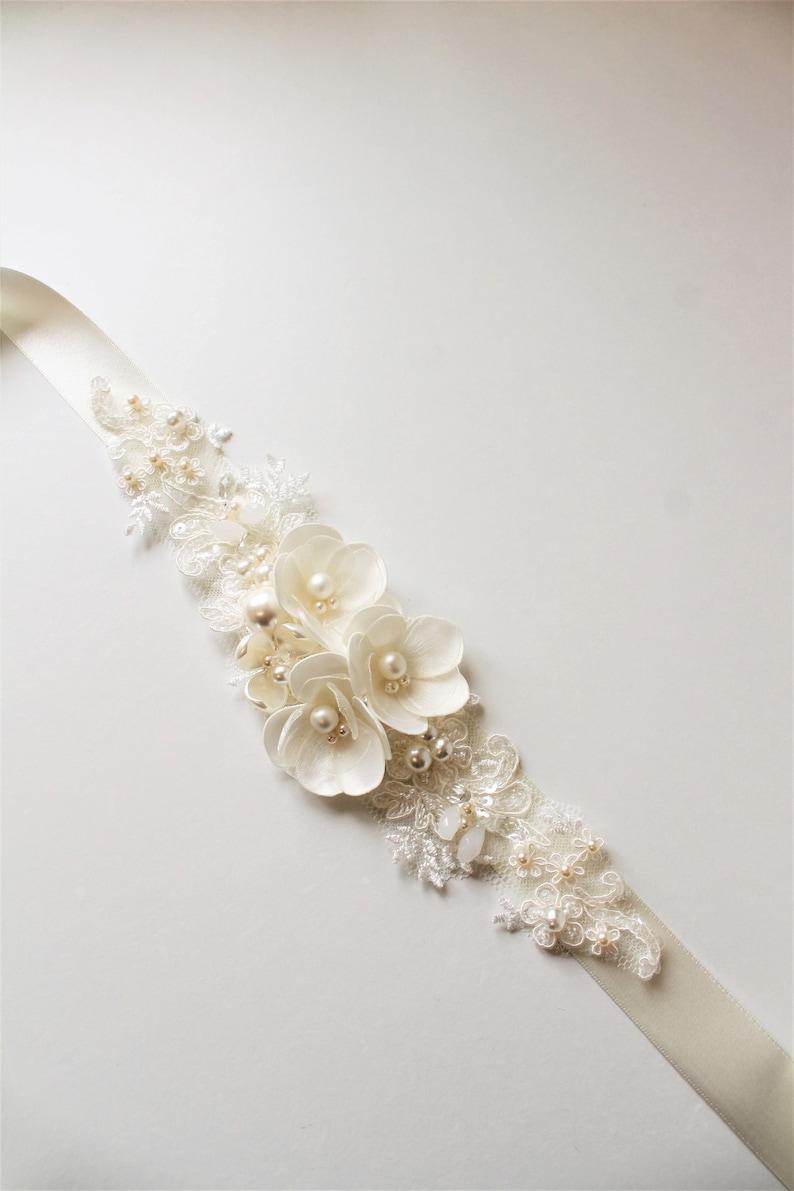 Ivory Bridal Sash Bridal belt Wedding dress belt sash Tiny image 0
