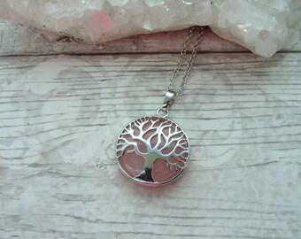 Rose Quartz Tree Of Life Pendant - Gemstone Cabochon Silver Plated Necklace - Crystal Tree Pendant