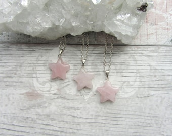 Rose Quartz Star Pendant - Gemstone Necklace - Carved Silver Plated Stone Jewellery