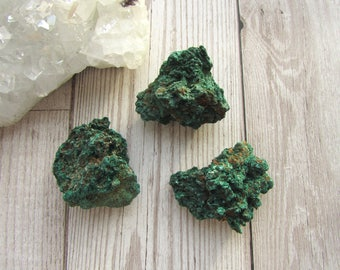 Natural Silky Malachite - Raw Rough Rock - Green Gemstone Specimen