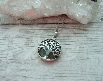 Green Aventurine Tree Of Life Pendant - Gemstone Cabochon Silver Plated Necklace - Crystal Tree Pendant