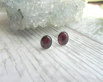 Natural Garnet Stud Earrings - 925 Sterling Silver Gemstone Jewellery - Red Earstuds