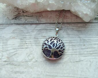 Amethyst Tree Of Life Pendant - Gemstone Cabochon Silver Plated Necklace - Crystal Tree Pendant