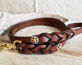 Leather pet leash braided with texas star conchos  dog leash, brown leather