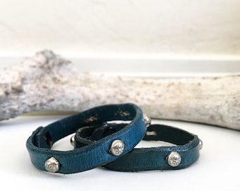 Dark Blue leather bracelet with silver spots, studs