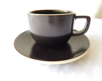 """Sasaki Stoneware """"Colorstone"""" Cup and Saucer in Matt Black by Vignelli Desings - MINT!"""