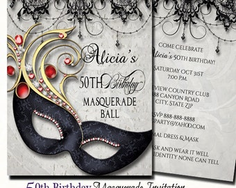 50th Birthday Masquerade Party Invitation Invite