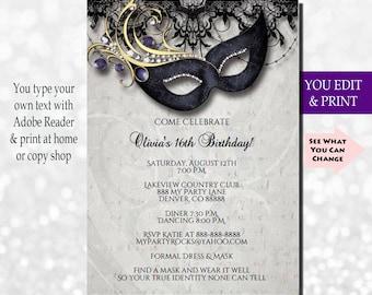 Masquerade Invitation Party Instant Download Ball You Edit PDF