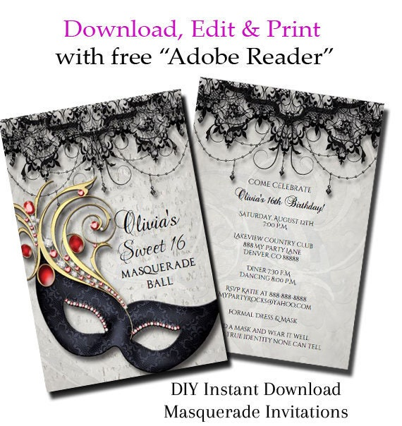 Sweet Sixteen Masquerade Party Invitation 16 You Edit PDF