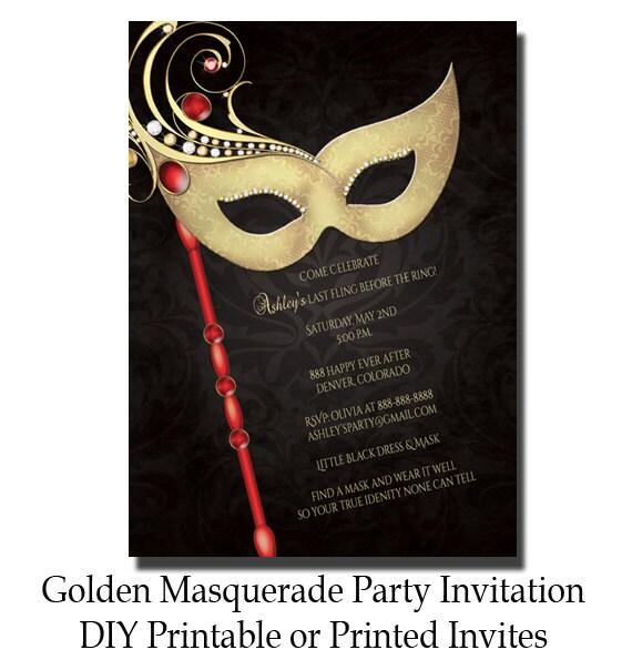 Golden Masquerade Party Invitation Masquerade Invite Bridal Etsy