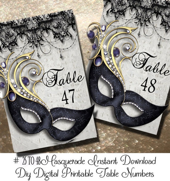 Admirable Masquerde Printable Table Numbers 25 48 Wedding Table Numbers Masquerade Birthday Decoration Party Decoration Instant Download Download Free Architecture Designs Scobabritishbridgeorg