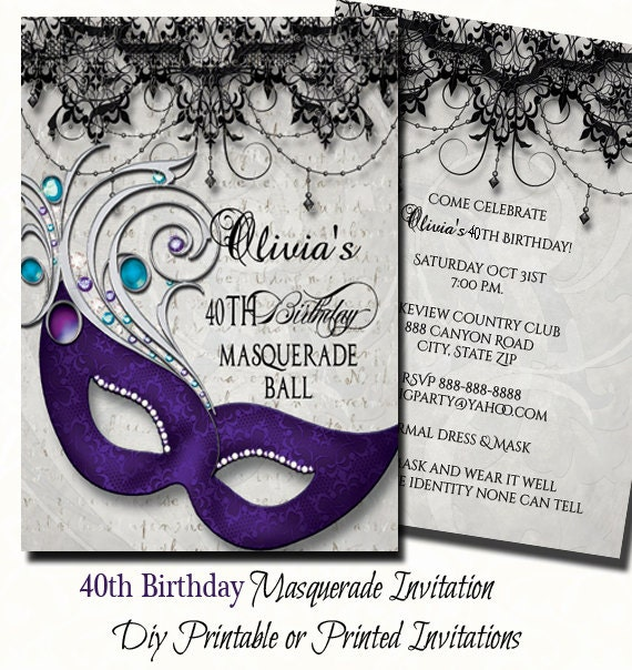 picture relating to Free Printable Masquerade Invitations identified as 40th Birthday Masquerade Bash Invitation Masquerade Invite 40th Birthday Invitation Electronic Print or Released Invite with Free of charge Send