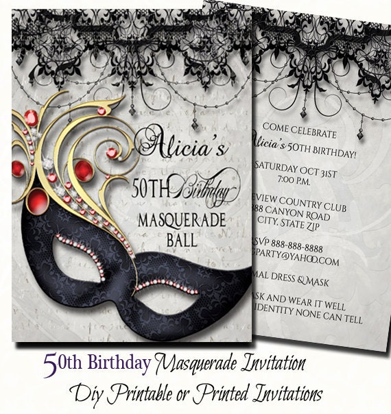 50th birthday masquerade party invitation masquerade invite etsy