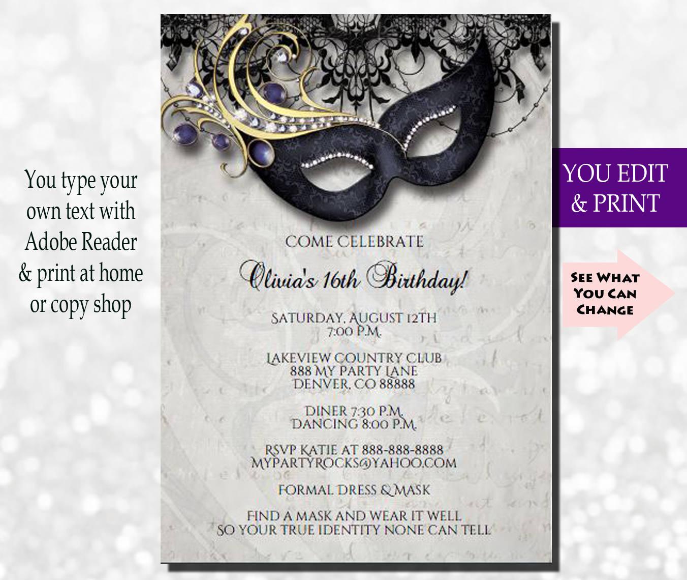 Masquerade Invitation Masquerade Party Invitation Masquerade | Etsy