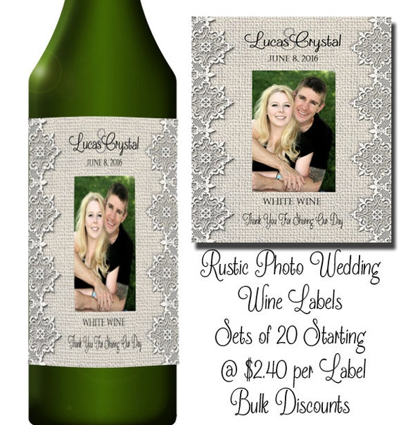 Photo De Campagne Rustique étiquette De Vin De Mariage