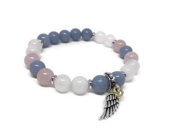 Angelite, Rose Quartz and White Agate Bracelet, Guardian Angel, Memory of a Beloved Person, Angel Bracelet, Angel Wing, Beaded Bracelet