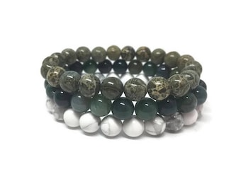 Stackable Mala bracelets : Green Camouflage Jasper, Moss Agate and Howlite