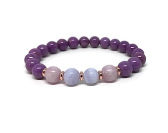 Purple Phosphosiderite, Kunzite and Agate Bracelet, Mala Bracelet, Beaded Bracelet, Gemstone Bracelet, Crystal Healing, Women Bracelet