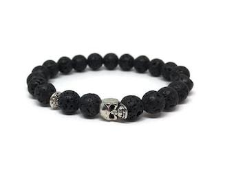 Black Lava Stone Bracelet, Skeleton Head Bracelet, Skeleton Head Jewelry, Skeleton Bracelet,  Men and Women Bracelet, Oil Diffuser Jewel