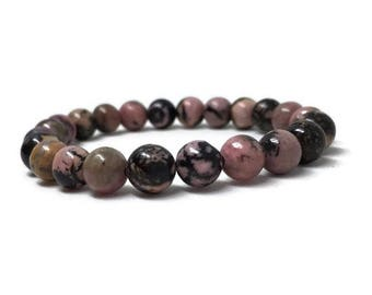 Rhodonite Bracelet, Mala Bracelet, Beaded Bracelet, Gemstone Bracelet, Pink Bracelet, Women Bracelet, Women Gift, Rhodonite Jewel, Yoga Gift