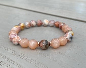 Agate and Sunstone Bracelet, Mala Braceclet, Beaded Bracelet, Gemstone Bracelet, Women Bracelet, Men Bracelet, 8mm Beads, Agate Jewelry