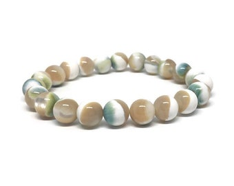 Mother of Pearl Bracelet, Mother of Pearl Jewel, Mala Bracelet, Women Bracelet, Women Gift, Green Mother of Pearl, 8mm Bracelet, 8mm Beads