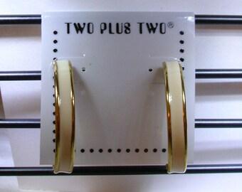 Cream Enamel and gold tone hoop earrings on post