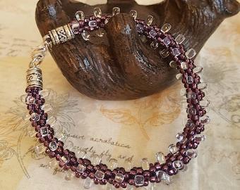 Purple Kumihimo Beaded Bracelet