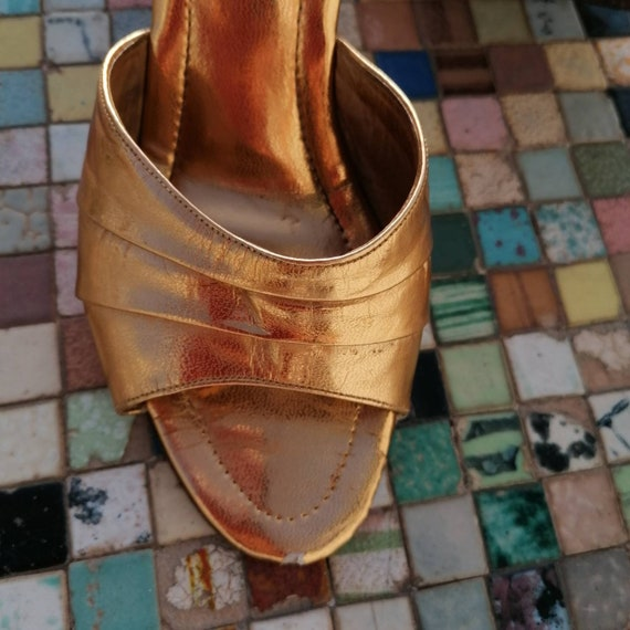 1950s boomerang gold lame shoes - image 10