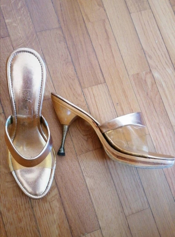 1950s gold lame polly shoes
