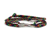 Hyper Adjustable Double Wrap Paracord Men Women Unisex Nautical Fish Hook Bracelet - Anklets - Best Paracord Bracelet