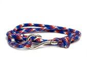 Red White Blue Camo Adjustable Double Wrap Paracord Men Women Unisex Nautical Round Fish Hook Bracelet - Anklets - Best Paracord Bracelet