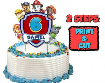 Cake Topper Paw Patrol For Any Age Boy Or Girl, Personalized, Birthday