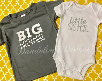 11a3e3e12 Big Brother Little Sister New Baby Set Sissy Bubba New Brother New Sister  Gift