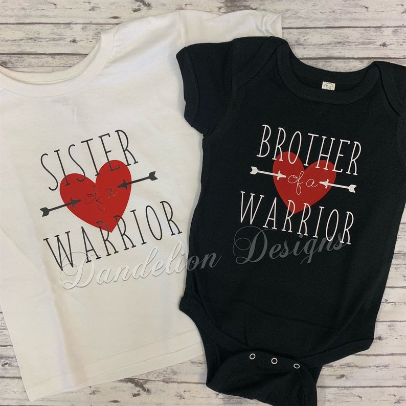 f636593b1c Heart Warrior Brother of a Warrior or Sister of a Warrior Tee
