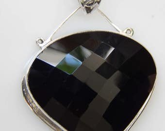 Stunning Black Onyx 925 Sterling Silver Pendent , Handmade 925 Silver Pendent with Black Onyx Gemstone