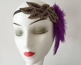 Feather Rhinestone Fascinator Hair Clip Headband Gatsby Party Wedding Headpiece
