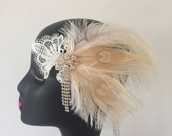 Lace Peacock Feathers Flapper Crystal Headband Gatsby Party Art Deco Fascinator