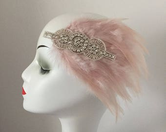 Dusty Pink Hair Clip 1920s Gatsby Party Bridal Costume Evening Dress Headpiece Accessories