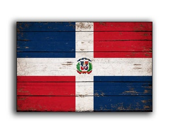 Dominican Republic Wood Flag Flags Rustic Wooden Handmade Sign Printed Decor Wall Signs FREE SHIPPING
