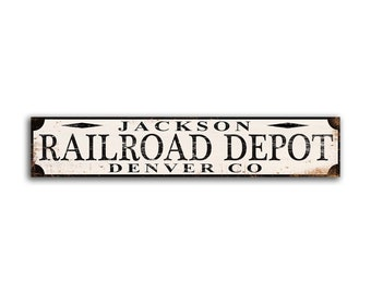 887df578d5 Customized Train Railroad Depot Sign Railroad Railway Personalized Name  Print on Wood Decor wooden home decor wall signs FREE SHIPPING